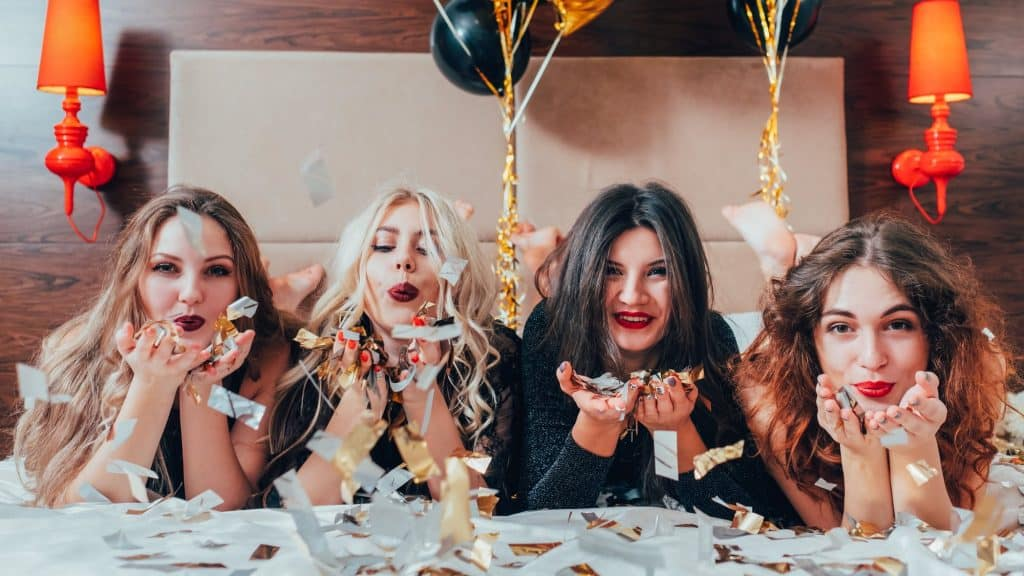 ladies at a hen party event with confetti